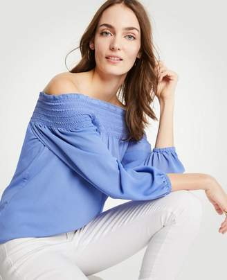 Ann Taylor Tall Smocked Off The Shoulder Blouse