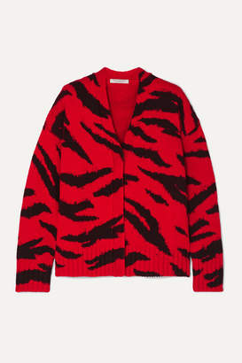 Philosophy di Lorenzo Serafini Zebra-intarsia Wool Cardigan - Red
