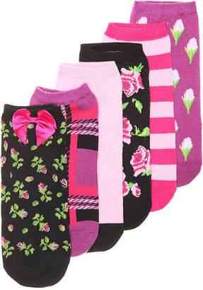 Betsey Johnson Floral No Show Socks - 6 Pack -Black Multicolor - Women's
