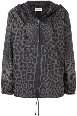 Saint Laurent leopard print hooded bomber