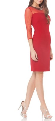Women's Carmen Marc Valvo Infusion Beaded Woven Sheath Dress $288 thestylecure.com