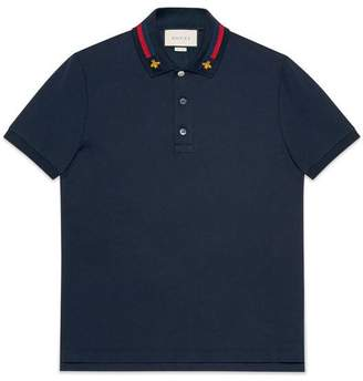 Gucci Cotton polo with Web and bee