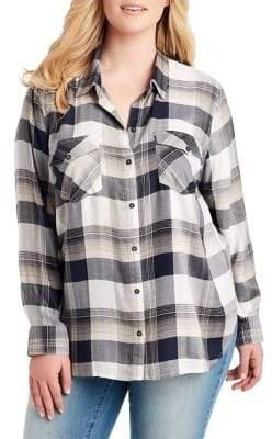 Jessica Simpson Plus Petunia Plaid Button-Down Shirt