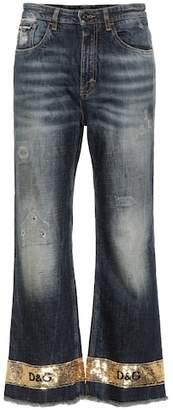 Dolce & Gabbana Sequin embellished wide-leg jeans