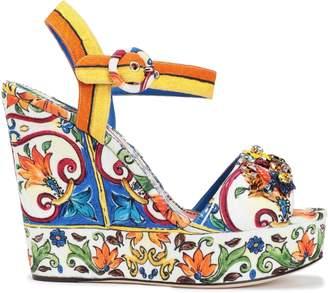 Dolce & Gabbana (ドルチェ & ガッバーナ) - Dolce & Gabbana 装飾付き ジャカード プラットフォーム ウェッジサンダル