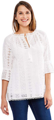 SKYE'S THE LIMIT Skyes The Limit St. Barths Eyelet Embroidered Peasant Top- Plus