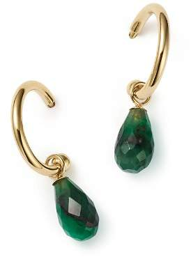 Bloomingdale's Emerald Briolette Hoop Drop Earrings in 14K Yellow Gold - 100% Exclusive