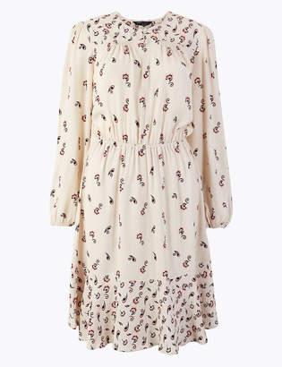 Marks and Spencer Printed Knee-Length Waisted Dress