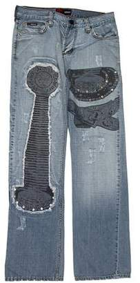 Versace Patterned Straight-Leg Jeans