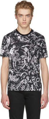 Versus Black Printed Drawing T-Shirt