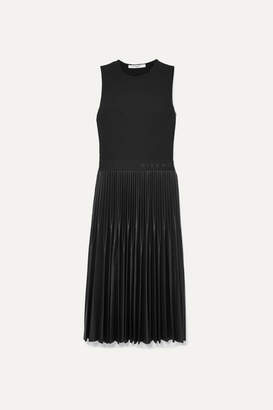 Givenchy Jersey And Pleated Faux Leather Dress - Black