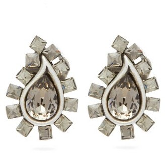 Etro Paisley Crystal Embellished Clip Earrings - Womens - Silver