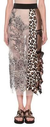Antonio Marras Ruffled Leopard-Print Mixed-Lace Midi Skirt