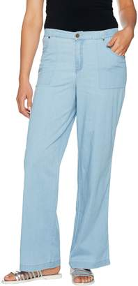 Denim & Co. Stretch Wide Leg Full Length Chambray Pants