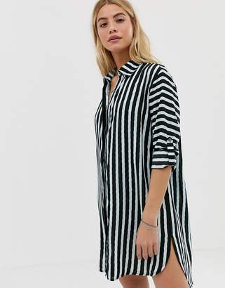 Maaji Full of Dreams long stripe beach shirt in black multi