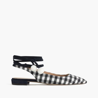Lily ankle-wrap flats in gingham $228 thestylecure.com