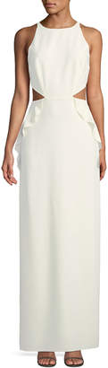 Halston Sleeveless Ruffle Gown w/ Cutout