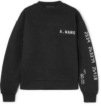 Alexander Wang Terry Appliquéd Cotton-blend Jersey Sweatshirt - Black