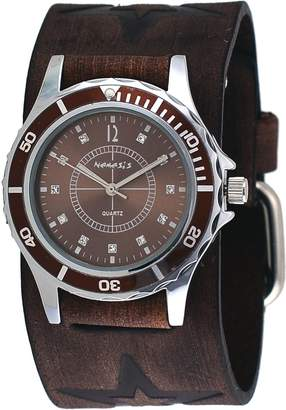 Nemesis #FST092B Women's Star Icon Dial Sports Wide Leather Cuff Band Watch
