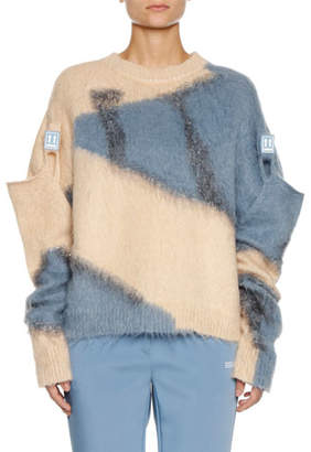 Off-White Colorblock Crewneck Wool-Mohair Sweater