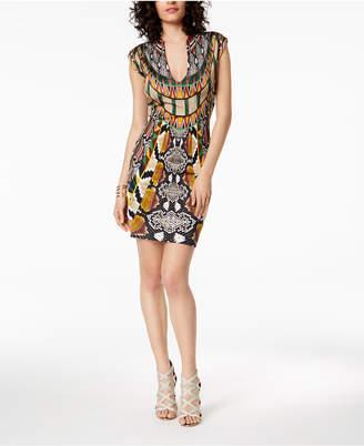 Just Cavalli Deep V-Neck Mixed-Print Sheath Dress
