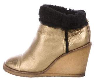 Chanel Leather Shearling-Trimmed Boots Gold Leather Shearling-Trimmed Boots