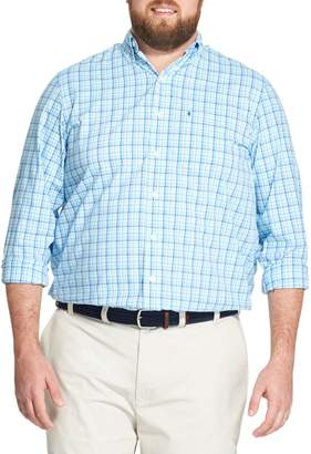 Izod Big Tall Plaid Button-Down Shirt