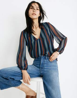 Madewell Sheer-Sleeve Top in Academy Stripe