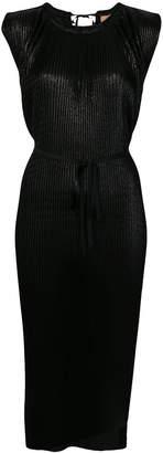 Nude sleeveless lurex dress