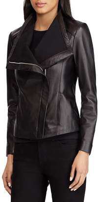 Lauren Ralph Lauren Drape Front Leather Moto Jacket