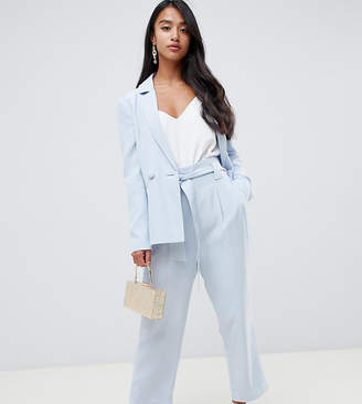 Forever New Petite tie waist pants in sky blue