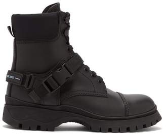 Prada Technical Lace Up Leather Boots - Womens - Black