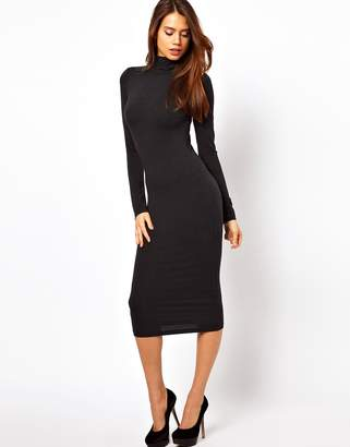 dd717a0c14 Asos Design Midi Bodycon Dress With Poloneck And Long Sleeves
