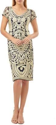 JS Collections Short Sleeve Soutache Mesh Cocktail Dress