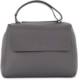 Orciani Sveva Medium Asphalt Grey Tumbled Leather Handbag