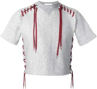 Facetasm lace-up layered shortsleeved sweatshirt
