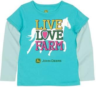 """John Deere Girls 4-6x Live Love Farm"""" Mock-Layer Tee"""