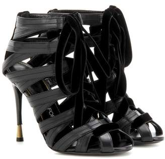 Tom Ford Velvet-trimmed leather sandals