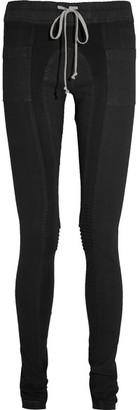 Rick Owens - Ribbed Jersey-paneled Stretch-denim Leggings - Dark denim $795 thestylecure.com