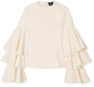 SOLACE London Ruba Tiered Ruffled Crepe Blouse - Cream