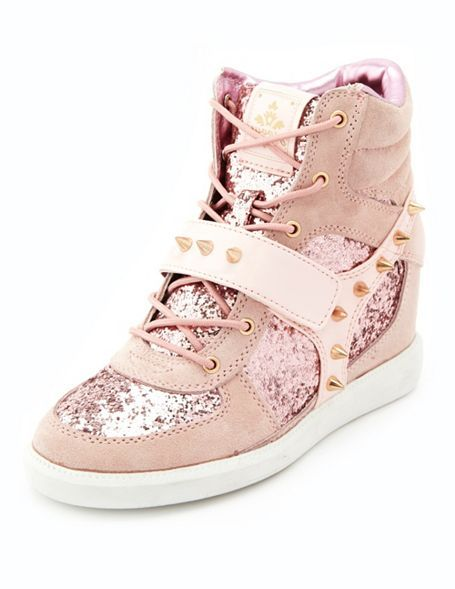Charlotte Russe Spiked Mixed Media Wedge Sneaker