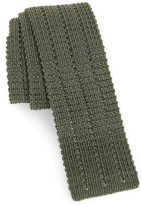 Eleventy Solid Skinny Woven Silk Tie