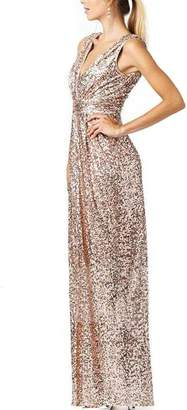 Cdress Sequins Long Bridesmaid Dresses V-Neck Evening Prom Gowns Maxi Formal Gowns Plus Size US 26W