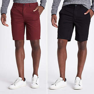 River Island Black slim fit chino shorts 2 pack