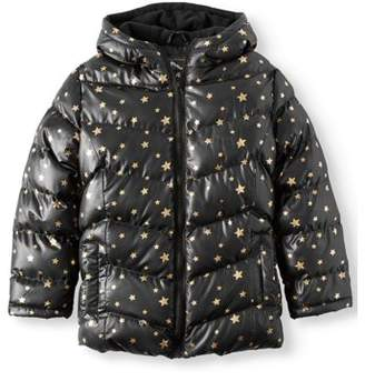 Climate Concepts Girls' Metallic Star Print Bubble Jacket