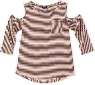 Tommy Hilfiger Big Girls Striped Cold Shoulder Top