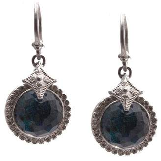 Armenta New World Sterling Silver Faceted Opal & White Quartz Doublet Pave Diamond Halo Drop Earrings