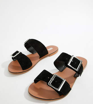 Asos Design DESIGN Wide Fit Victorious leather buckle sliders