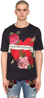 Dolce & Gabbana Heart Printed Cotton Jersey T-Shirt