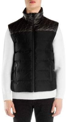 Fendi Logo Print Feather Fill Vest
